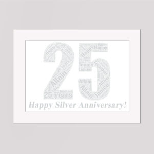 25 Silver Anniversary in a Frame Wordart Prints