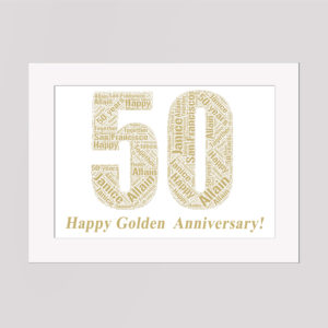 50 Years Golden Anniversary in a Frame Wordart Prints