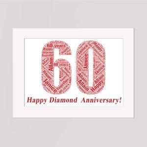 60th Birthday in a Frame Wordart Prints