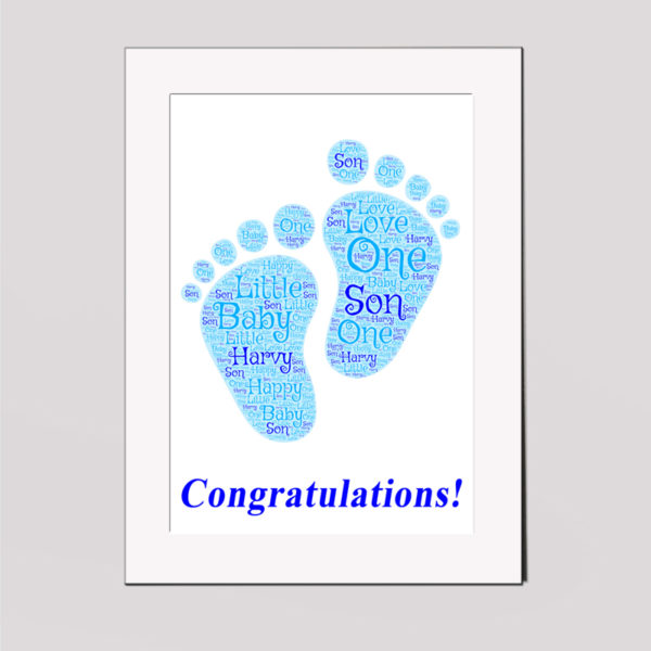 Baby Son in a Frame Wordart Prints