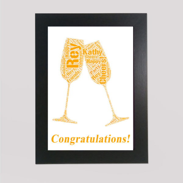 Wine Glasses in a Frame Wordart Prints