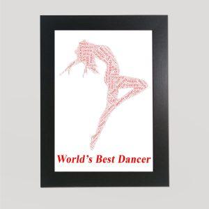Ballerina in a Frame Wordart Prints