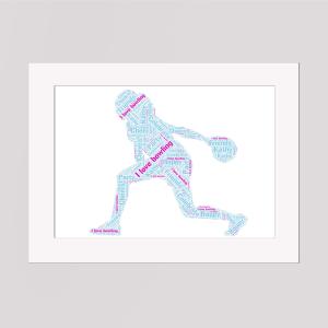 Bowling in a Frame Wordart Prints