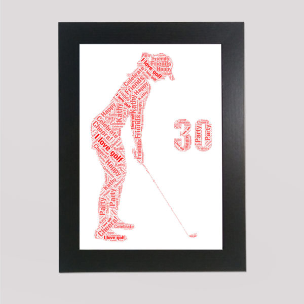 Golf in a Frame Wordart Prints