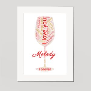 Wine Glass in a Frame Wordart Prints