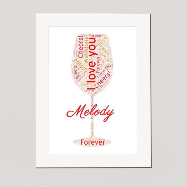 Wine Glass in a Frame Wordart Prints