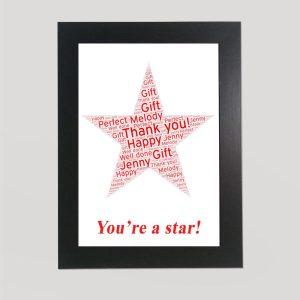 Star in a Frame Wordart Print