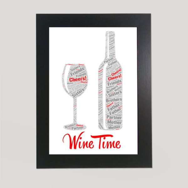 Wine and Wine Glass in a Frame Wordart Prints